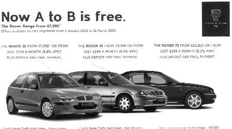 A to B magazine, Rover Advert