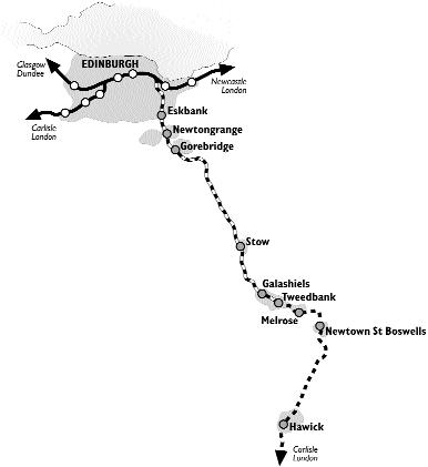 Scottish Borders Trains Map